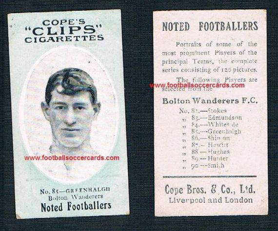 1908 Cope Brothers Noted Footballers 120 series Bolton Greenhalgh 85